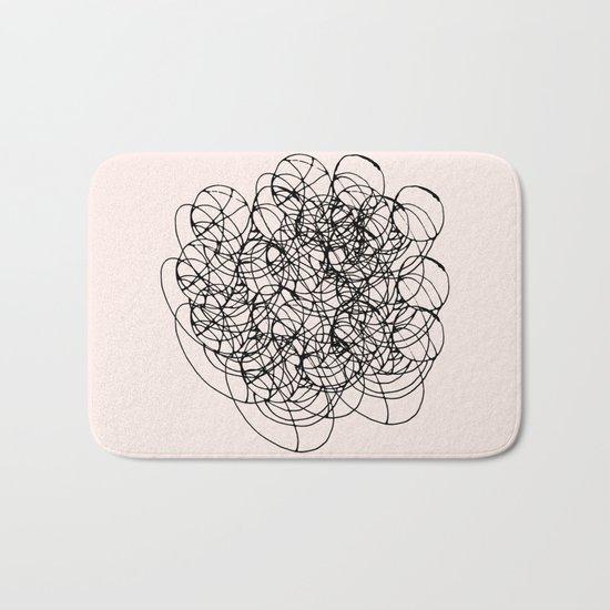 Black Circle Lines on Pink Bath Mat