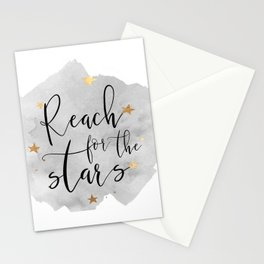 REACH FOR The STARS, Stars Gift,Stars And The Moon,Kids Room Decor,Watercolor Print,Gold Star Stationery Cards