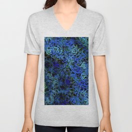 Supernova in blue and geen Unisex V-Neck