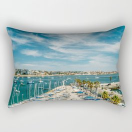 Luxury Yachts And Boats In Cascais Port At Atlantic Ocean, Wall Art Print, Luxury Resort Art, Poster Rectangular Pillow