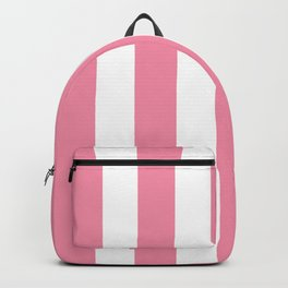 Vanilla ice pink - solid color - white vertical lines pattern Backpack
