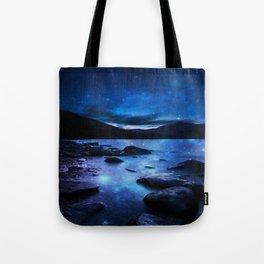 Magical Mountain Lake Dark Blue Tote Bag