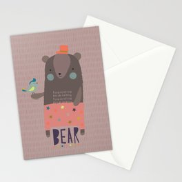 Big Bear and Bluebird Pink Stationery Cards