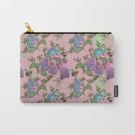 Bees and Blooms II: Watercolor illustrated honeybee & flower print Carry-All Pouch