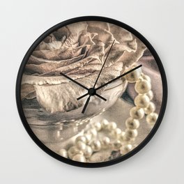 Roses Tea Pearls Still Life Modern Cottage Modern Country A431 Wall Clock