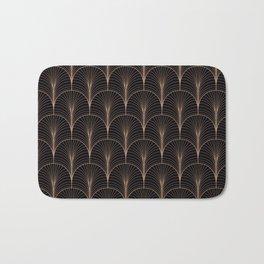 Art Deco Midnight Pattern Gold Black Bath Mat