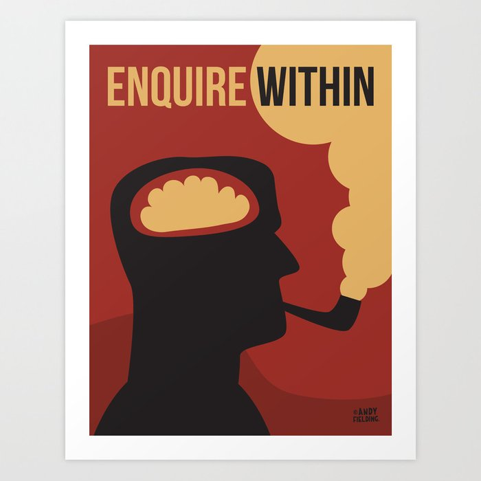 Enquire Within - Man, Brain, Thinking, Pipe, Retro, Silhouette Art Print