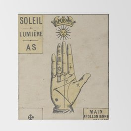 Vintage French Sun Tarot Card Throw Blanket