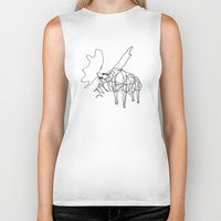 the wire Biker Tanks featuring Wire Moose by RoverElk