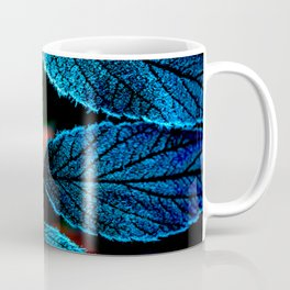 Peacock Blue Leaves Nature Background #decor #society6 #buyart Coffee Mug