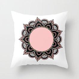 Mandala: Pink and Black Throw Pillow