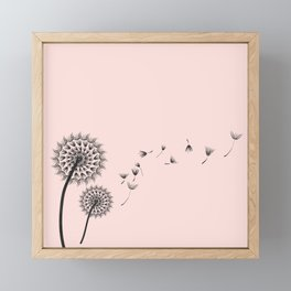 Contemporary Dandelion Flying Seedheads Drawing Framed Mini Art Print