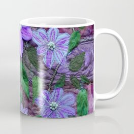 Purple Clematis. Textile art Coffee Mug