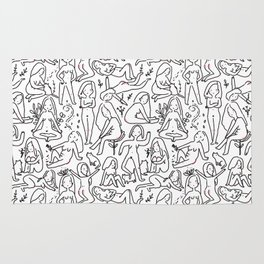 Doodle naked woman Rug