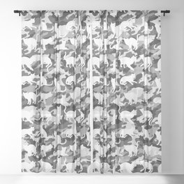 Black and White Catmouflage Camouflage Sheer Curtain