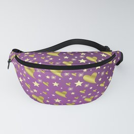many small stars in gold, white and pink hearts on shiny colored background Fanny Pack