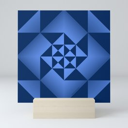 Abstract Triangles - Sapphire Mini Art Print