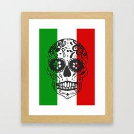 Mexican Skull With Italian Flag Framed Art Print