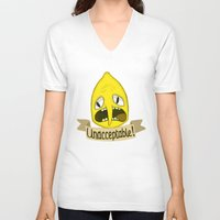lemongrab V-neck T-shirts featuring Lemongrab Unacceptable by Kam-Fox