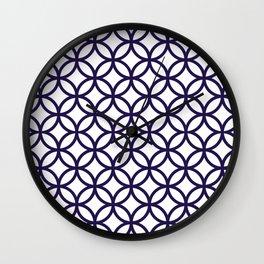 Navy Blue Overlapping Circles Wall Clock