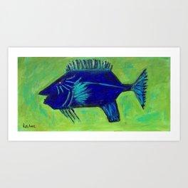 One Two Blue Fish Art Print