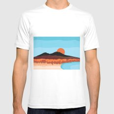 Landscape of Naples with volcano Vesuvio Mens Fitted Tee MEDIUM White