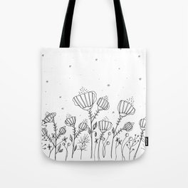 Doodle Flowers Illustration Tote Bag