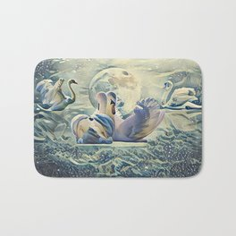 Four Swans Moon Rise Bath Mat