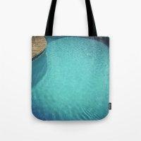 aqua Tote Bags featuring Aqua by Cassia Beck