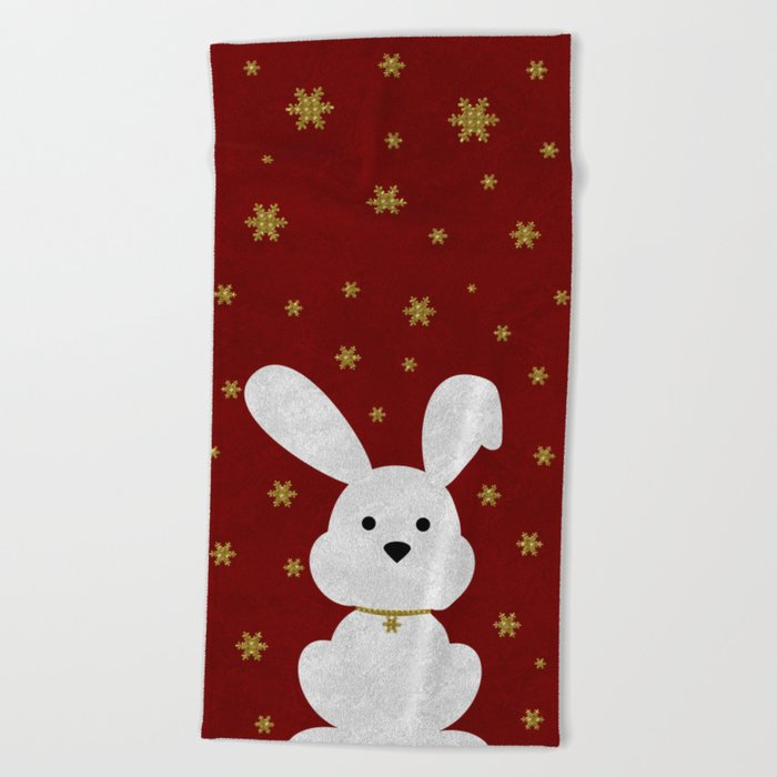 Christmas Bunny Red Marble Beach Towel
