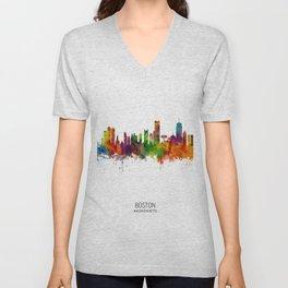 Boston Massachusetts Skyline Unisex V-Neck