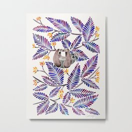 Happy Sloth – Tropical Indigo Leaves Metal Print