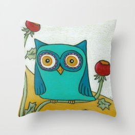 Turquoise Owl and Poppies Throw Pillow
