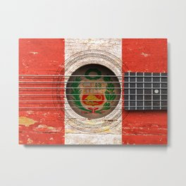 Old Vintage Acoustic Guitar with Peruvian Flag Metal Print