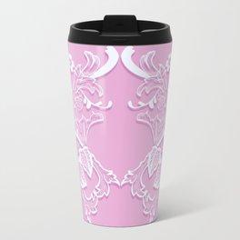 Romantic pink lace texture. Travel Mug