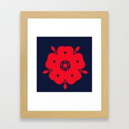 Japanese Samurai flower red pattern Framed Art Print