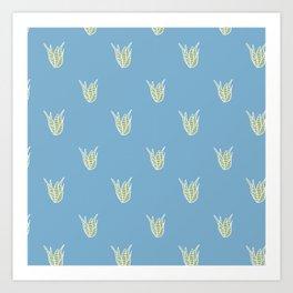 Blue Cactus Pattern Collection Art Print