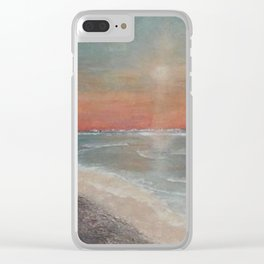 Sunset Blessings - Print of textured painting Clear iPhone Case