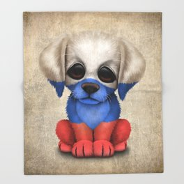 Cute Puppy Dog with flag of Russia Throw Blanket