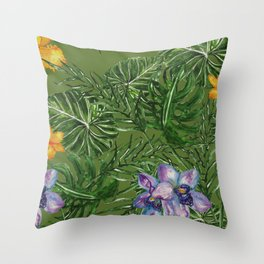 Tropical Pattern Big Leaves Throw Pillow