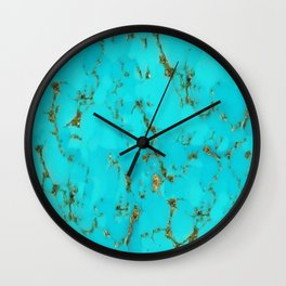 December Babies Turquoise Birthstone Abstract Wall Clock