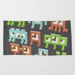 3D pixel aliens Beach Towel
