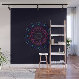 Bird and Flower Mandala in Black Wall Mural