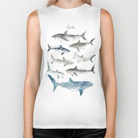large Biker Tanks featuring Sharks by Amy Hamilton