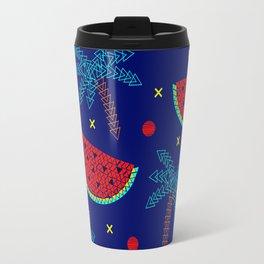 Tropical mosaic design on blue Travel Mug