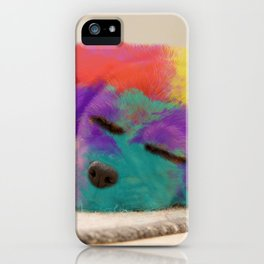 Colorful Rainbow Puppy Dog Art By Daniel MacGregor iPhone Case
