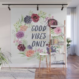 Wreath Good Vibes Only with purple flowers Wall Mural