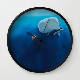 The little sperm whale and the fish Wall Clock