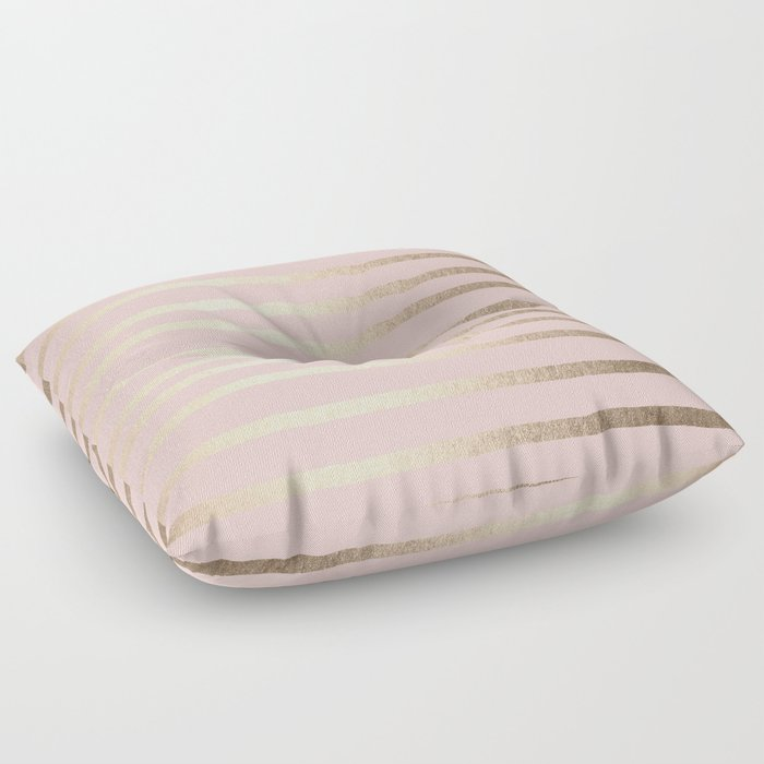 Abstract Drawn Stripes Gold Coral Light Pink Floor Pillow by ...
