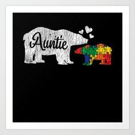 Love Auntie Bear  Autistic Kids Autism Awareness Art Print